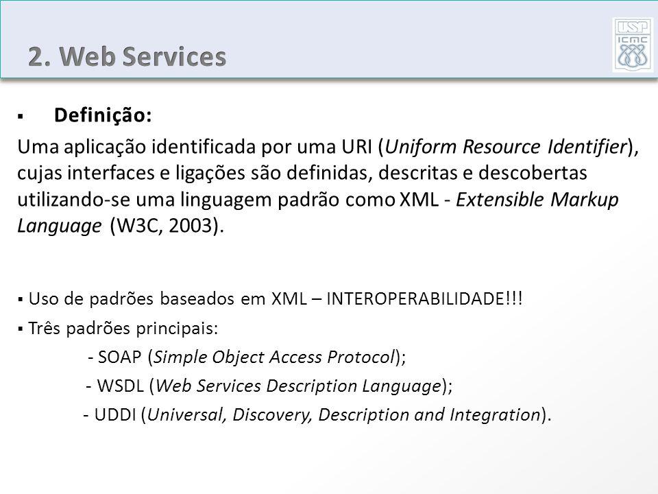 Uso de padrões baseados em XML – INTEROPERABILIDADE!!! Três padrões principais: - SOAP (Simple Object Access Protocol); - WSDL (Web Services Descripti