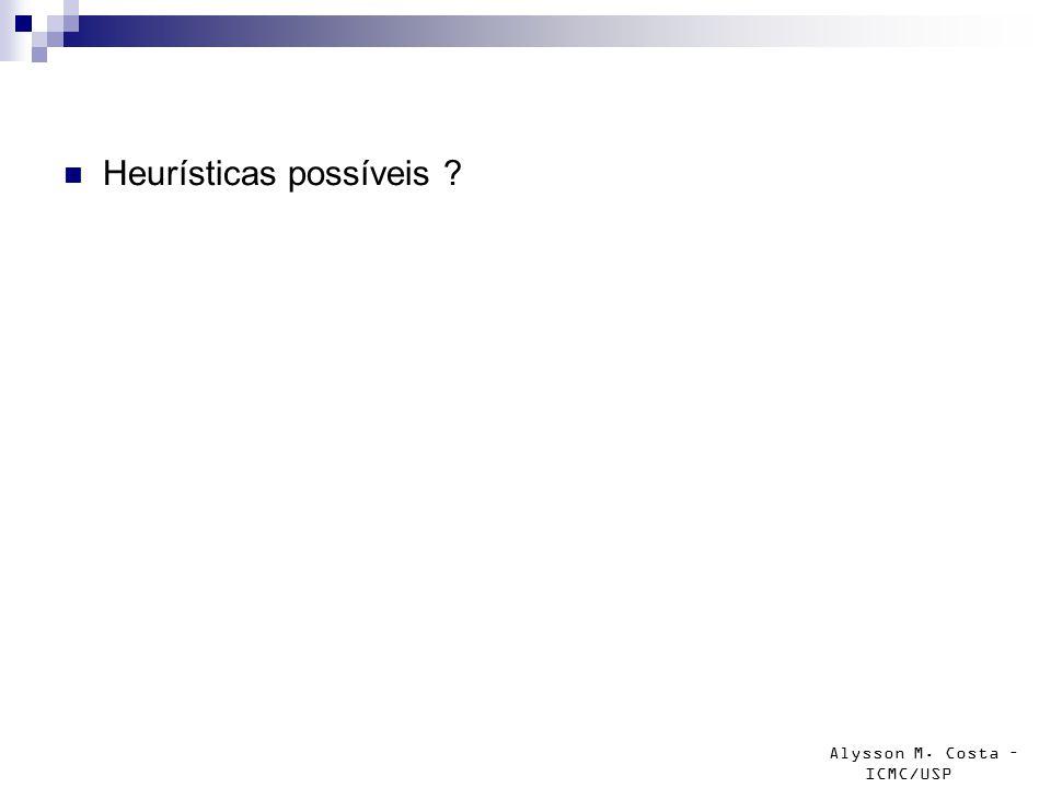 Alysson M. Costa – ICMC/USP Heurísticas possíveis
