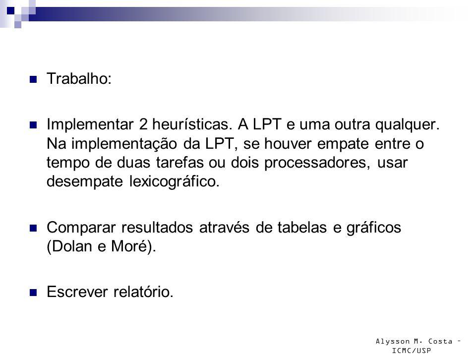 Alysson M. Costa – ICMC/USP Trabalho: Implementar 2 heurísticas. A LPT e uma outra qualquer. Na implementação da LPT, se houver empate entre o tempo d
