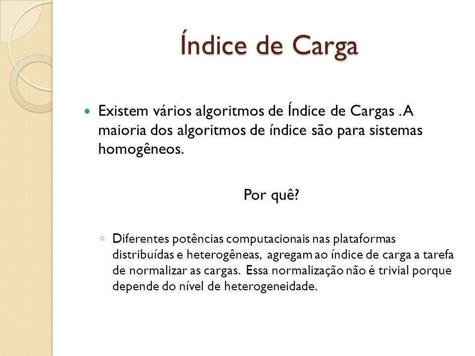 Índice de Carga Existem vários algoritmos de Índice de Cargas. A maioria dos algoritmos de índice são para sistemas homogêneos. Por quê? Diferentes po