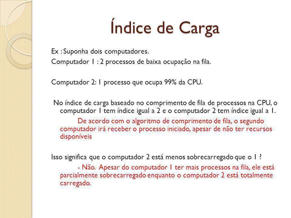 Índice de Carga Ex : Suponha dois computadores. Computador 1 : 2 processos de baixa ocupação na fila. Computador 2: 1 processo que ocupa 99% da CPU. N