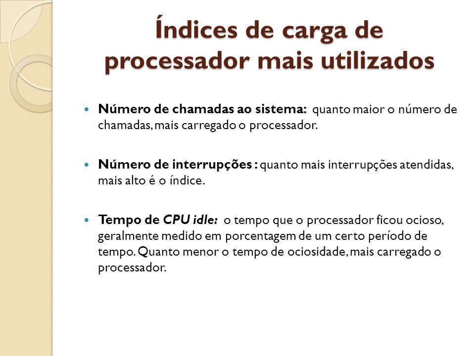Índices de carga de processador mais utilizados Número de chamadas ao sistema: quanto maior o número de chamadas, mais carregado o processador. Número