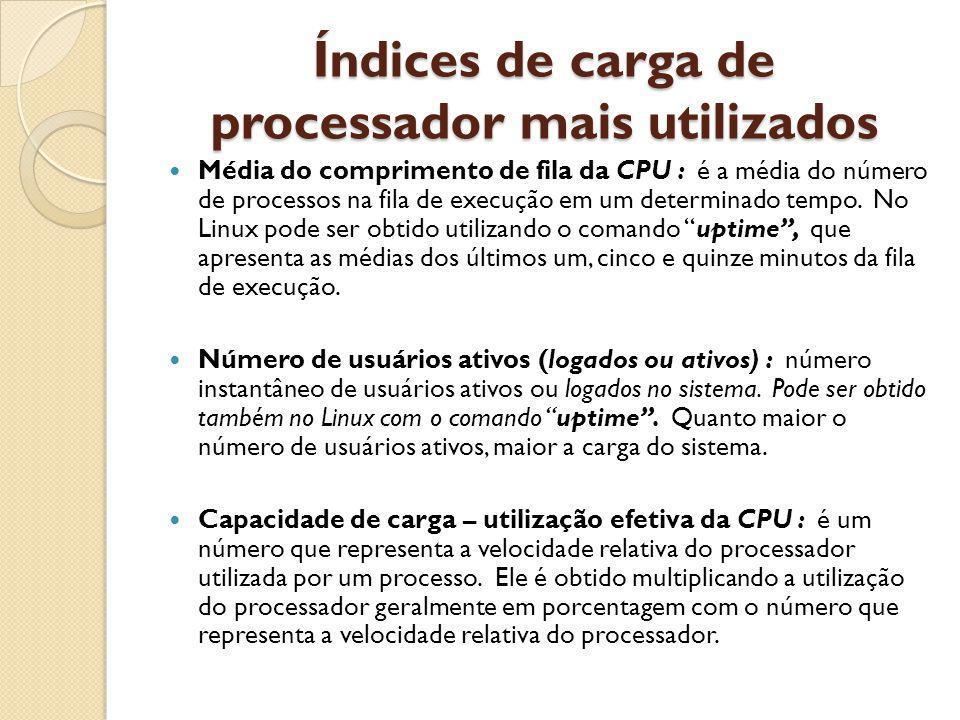 Índices de carga de processador mais utilizados Média do comprimento de fila da CPU : é a média do número de processos na fila de execução em um determinado tempo.