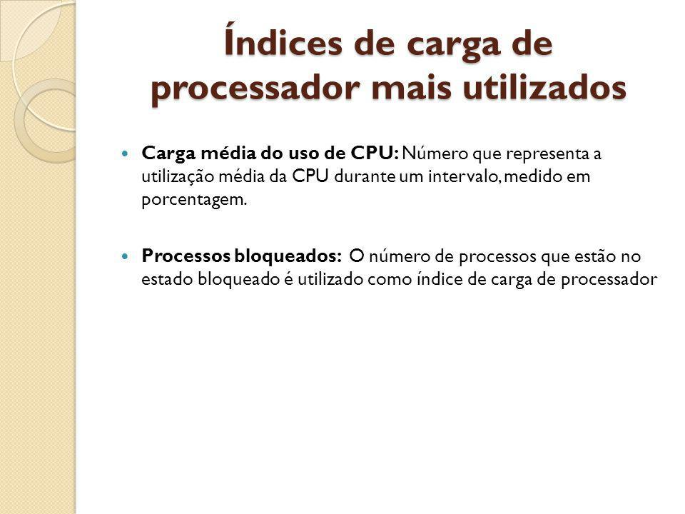 Índices de carga de processador mais utilizados Carga média do uso de CPU: Número que representa a utilização média da CPU durante um intervalo, medid