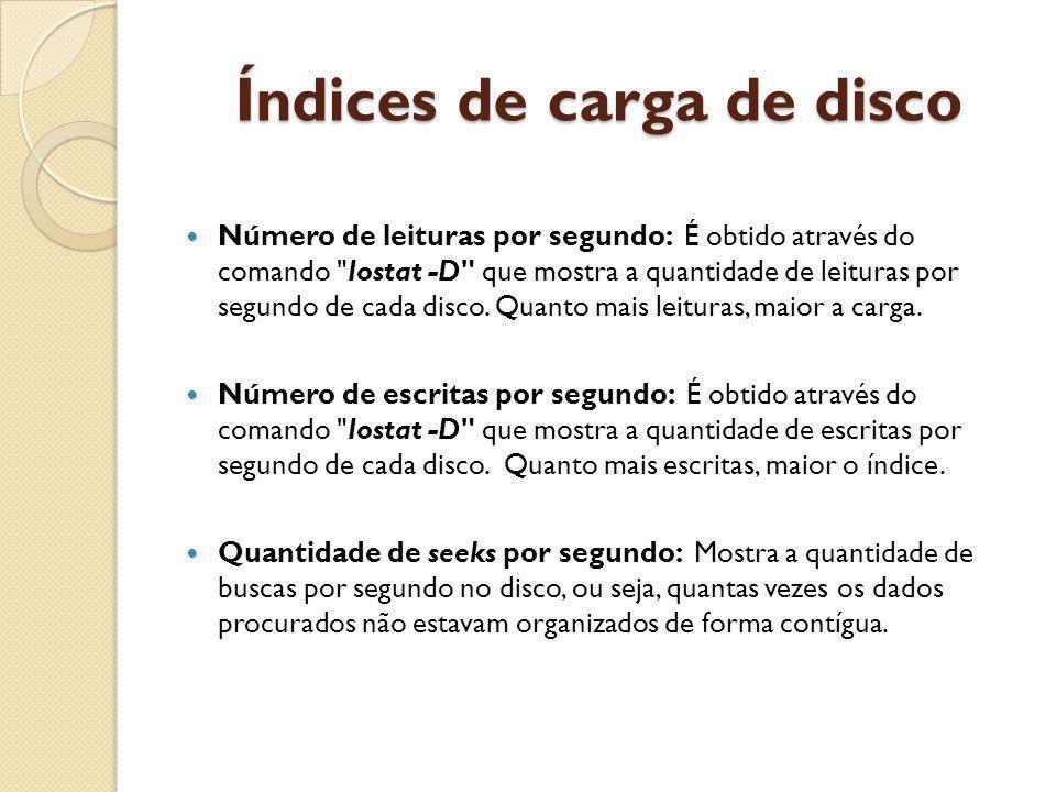Índices de carga de disco Número de leituras por segundo: É obtido através do comando Iostat -D que mostra a quantidade de leituras por segundo de cada disco.