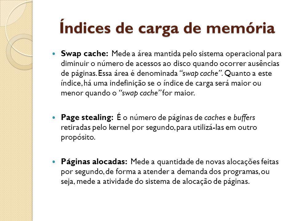 Índices de carga de memória Swap cache: Mede a área mantida pelo sistema operacional para diminuir o número de acessos ao disco quando ocorrer ausências de páginas.