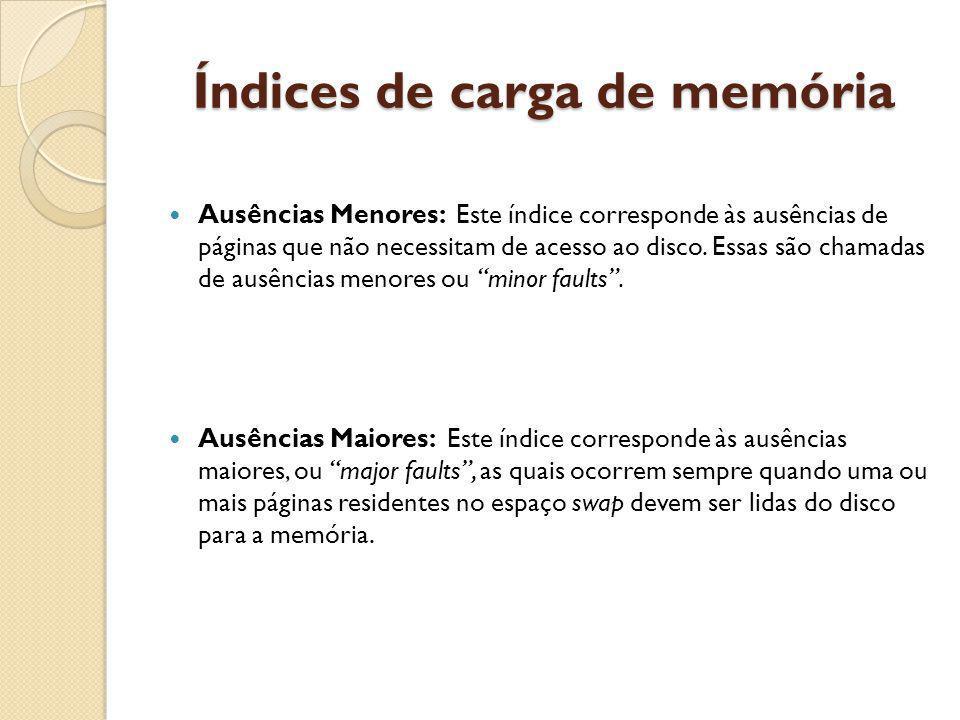 Índices de carga de memória Ausências Menores: Este índice corresponde às ausências de páginas que não necessitam de acesso ao disco. Essas são chamad
