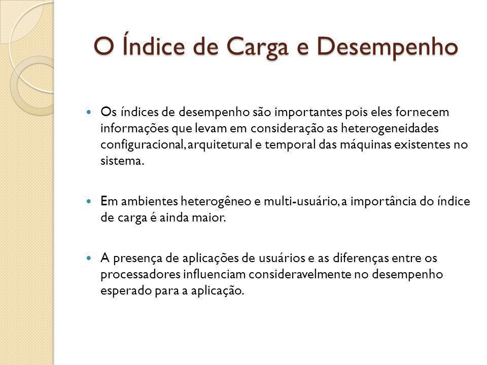 O Índice de Carga e Desempenho Os índices de desempenho são importantes pois eles fornecem informações que levam em consideração as heterogeneidades c