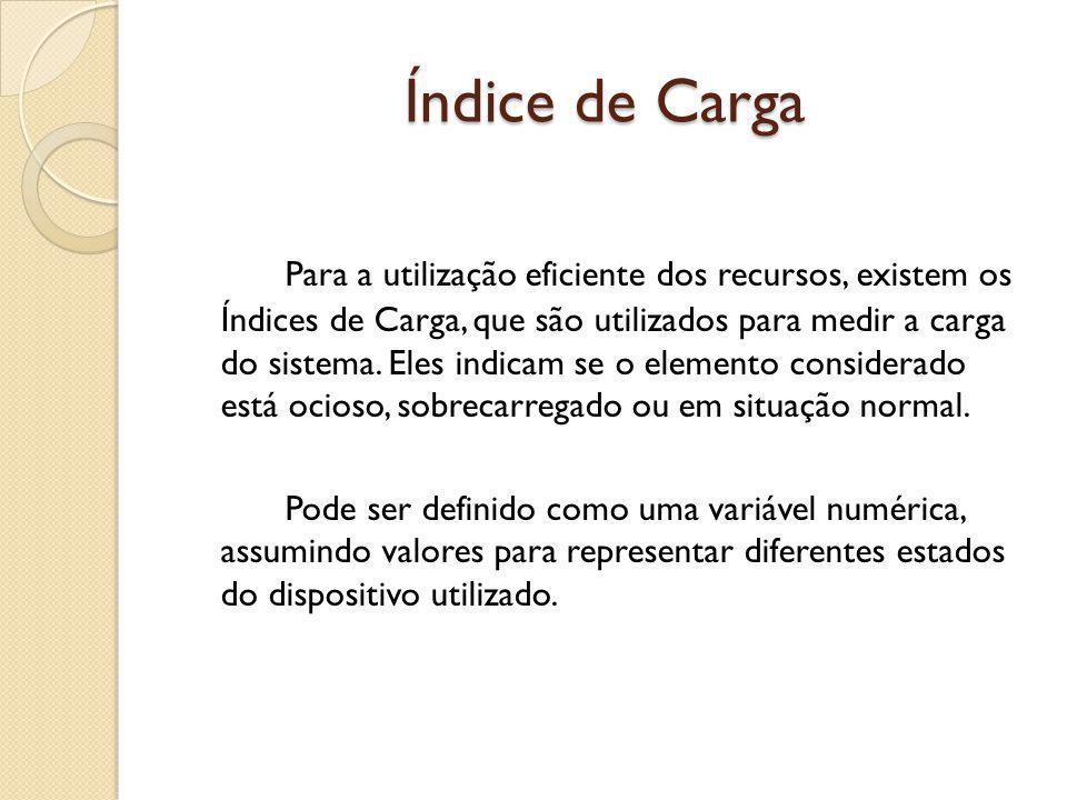 Índice de Carga Para a utilização eficiente dos recursos, existem os Índices de Carga, que são utilizados para medir a carga do sistema. Eles indicam