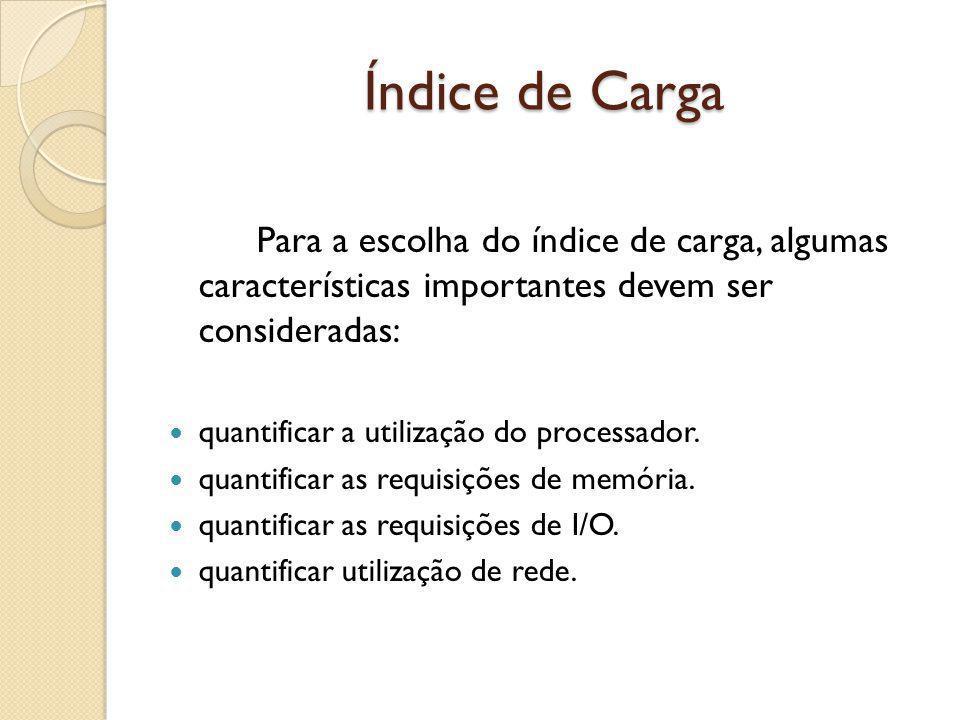 Índice de Carga Para a escolha do índice de carga, algumas características importantes devem ser consideradas: quantificar a utilização do processador