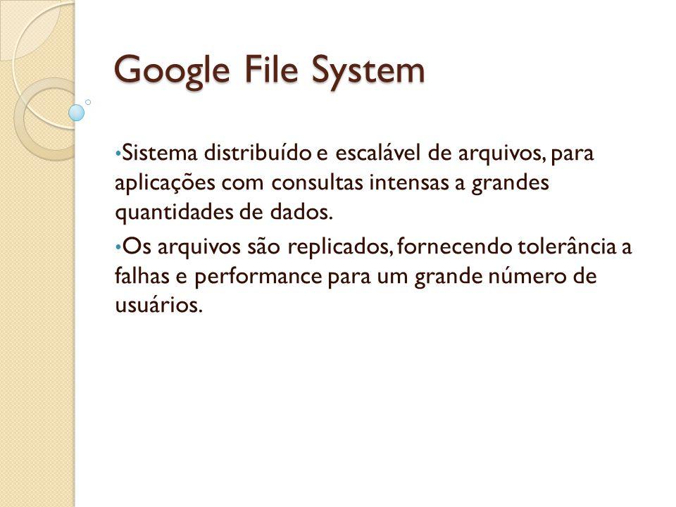 Google File System Sistema distribuído e escalável de arquivos, para aplicações com consultas intensas a grandes quantidades de dados. Os arquivos são