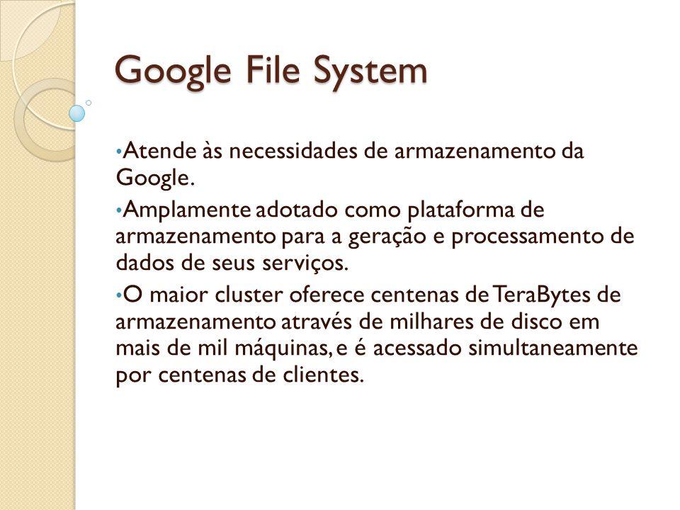 Google File System Atende às necessidades de armazenamento da Google. Amplamente adotado como plataforma de armazenamento para a geração e processamen