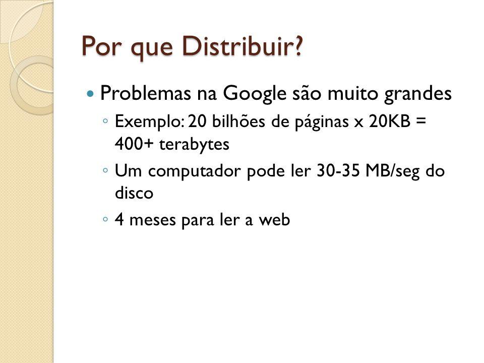 Por que Distribuir? Problemas na Google são muito grandes Exemplo: 20 bilhões de páginas x 20KB = 400+ terabytes Um computador pode ler 30-35 MB/seg d