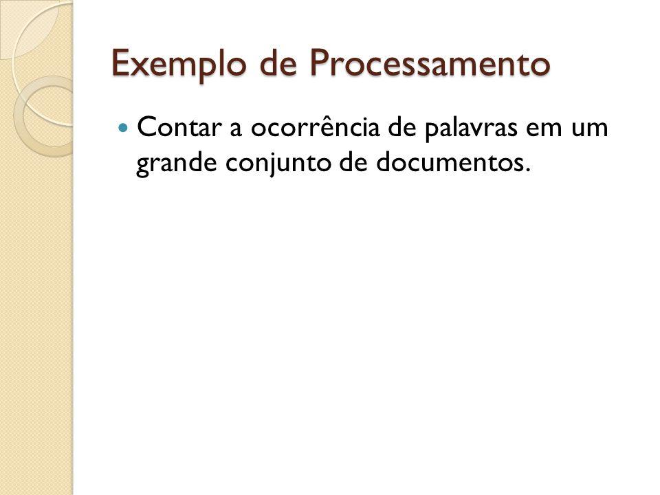 Exemplo de Processamento Contar a ocorrência de palavras em um grande conjunto de documentos.