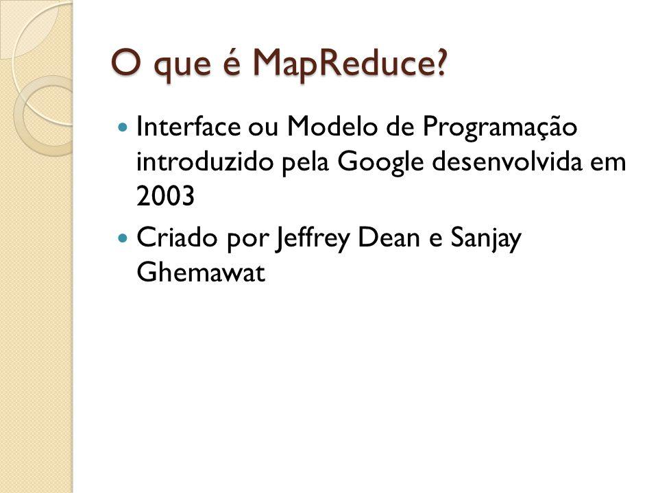 O que é MapReduce? Interface ou Modelo de Programação introduzido pela Google desenvolvida em 2003 Criado por Jeffrey Dean e Sanjay Ghemawat