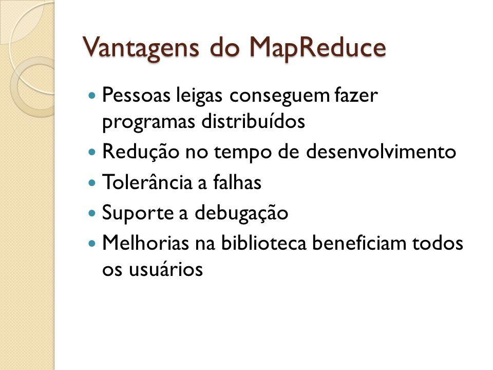 Vantagens do MapReduce Pessoas leigas conseguem fazer programas distribuídos Redução no tempo de desenvolvimento Tolerância a falhas Suporte a debugação Melhorias na biblioteca beneficiam todos os usuários