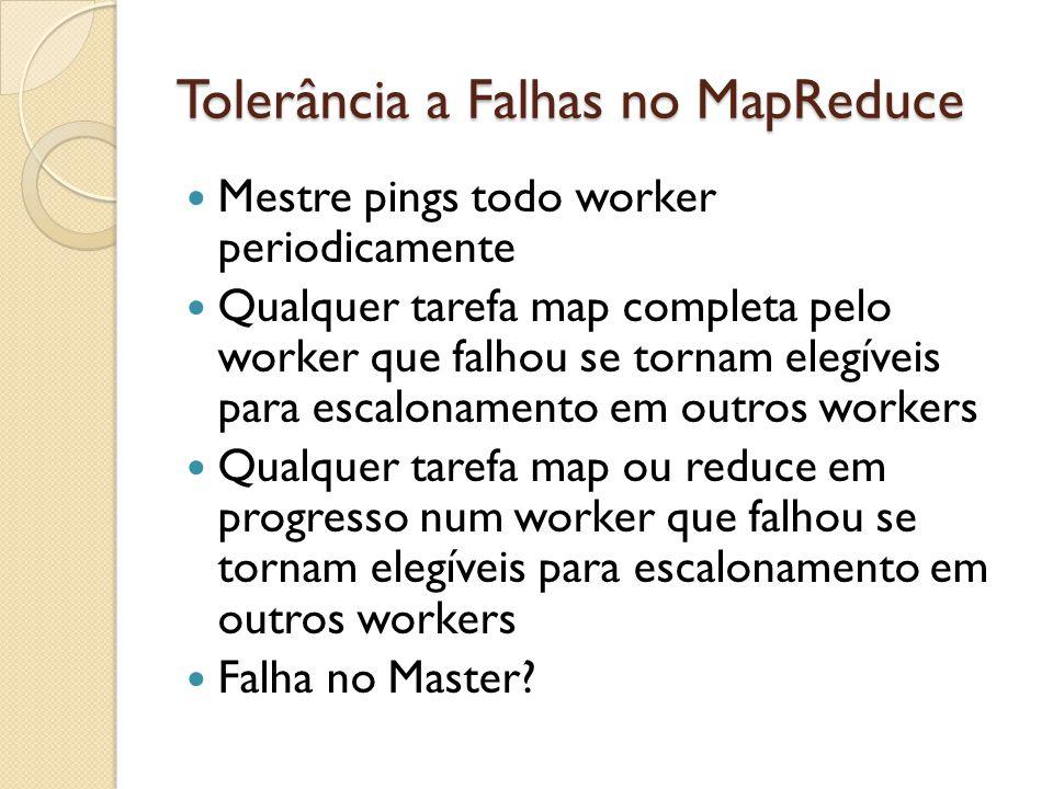 Tolerância a Falhas no MapReduce Mestre pings todo worker periodicamente Qualquer tarefa map completa pelo worker que falhou se tornam elegíveis para