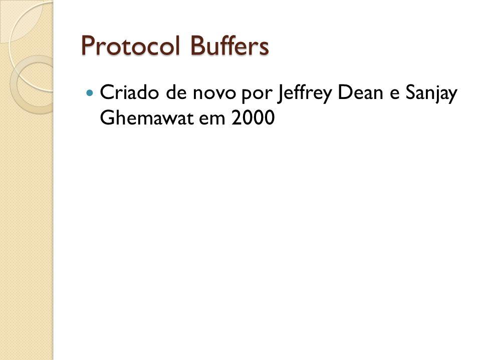Protocol Buffers Criado de novo por Jeffrey Dean e Sanjay Ghemawat em 2000