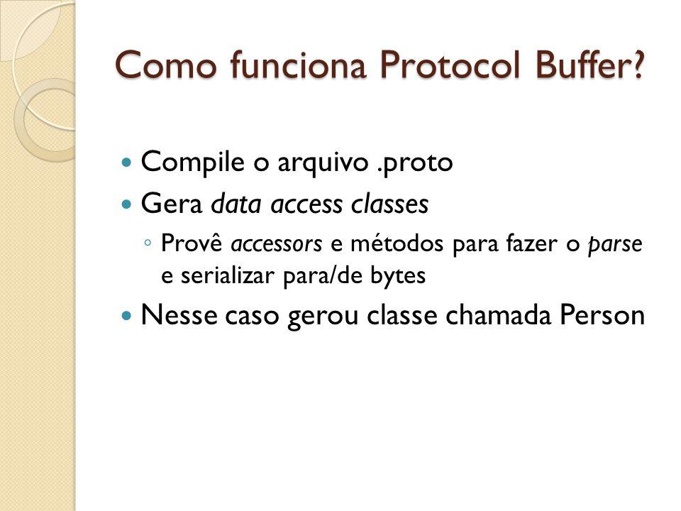 Como funciona Protocol Buffer? Compile o arquivo.proto Gera data access classes Provê accessors e métodos para fazer o parse e serializar para/de byte