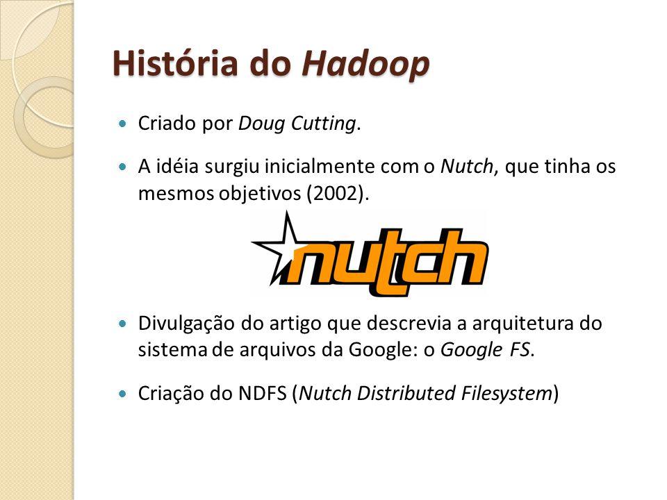 História do Hadoop Criado por Doug Cutting. A idéia surgiu inicialmente com o Nutch, que tinha os mesmos objetivos (2002). Divulgação do artigo que de