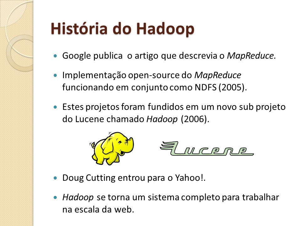 História do Hadoop Google publica o artigo que descrevia o MapReduce. Implementação open-source do MapReduce funcionando em conjunto como NDFS (2005).