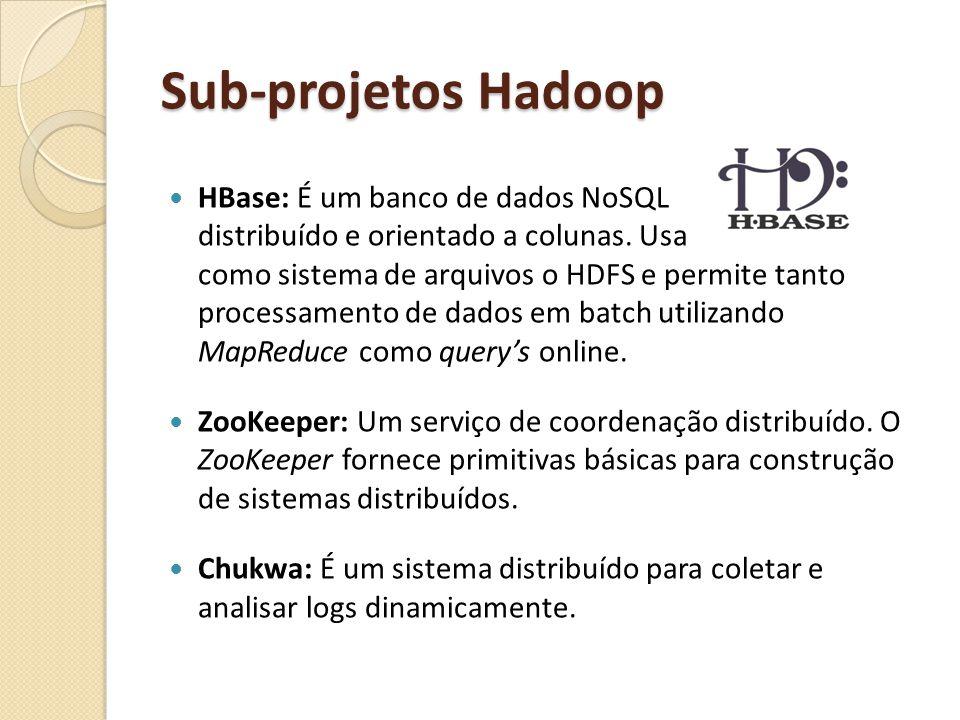 Sub-projetos Hadoop HBase: É um banco de dados NoSQL distribuído e orientado a colunas. Usa como sistema de arquivos o HDFS e permite tanto processame