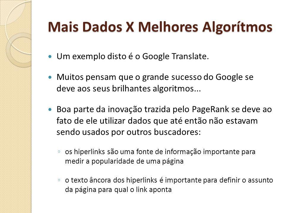 Mais Dados X Melhores Algorítmos Um exemplo disto é o Google Translate. Muitos pensam que o grande sucesso do Google se deve aos seus brilhantes algor