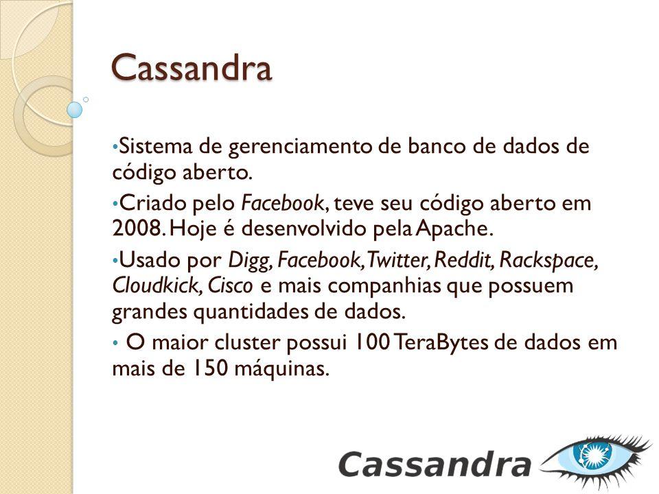 Cassandra Sistema de gerenciamento de banco de dados de código aberto. Criado pelo Facebook, teve seu código aberto em 2008. Hoje é desenvolvido pela
