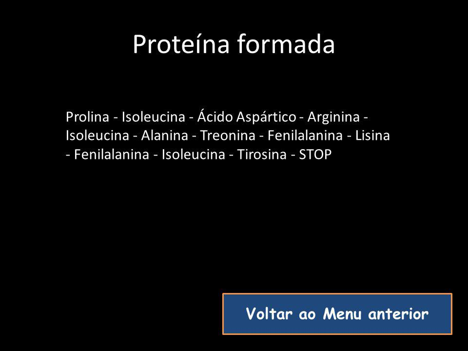 Proteína formada Prolina - Isoleucina - Ácido Aspártico - Arginina - Isoleucina - Alanina - Treonina - Fenilalanina - Lisina - Fenilalanina - Isoleuci