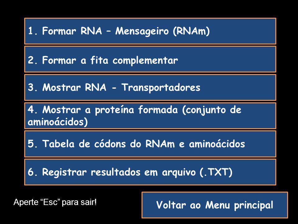 Voltar ao Menu principal 3. Mostrar RNA - Transportadores 2. Formar a fita complementar 1. Formar RNA – Mensageiro (RNAm) 4. Mostrar a proteína formad