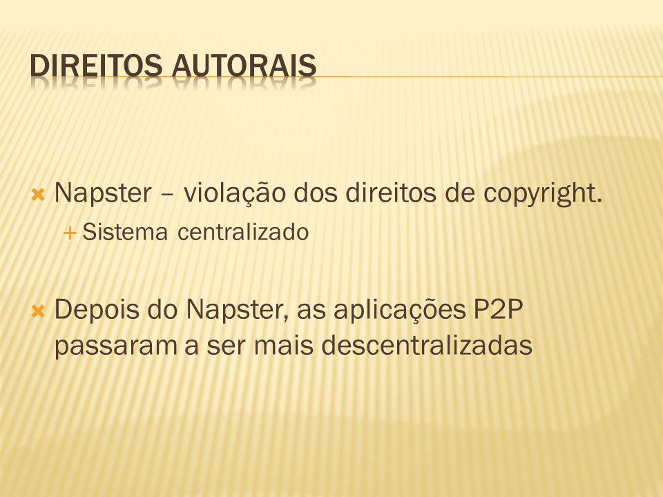 Napster – violação dos direitos de copyright. Sistema centralizado Depois do Napster, as aplicações P2P passaram a ser mais descentralizadas