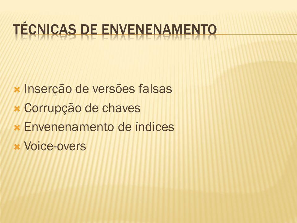 Inserção de versões falsas Corrupção de chaves Envenenamento de índices Voice-overs