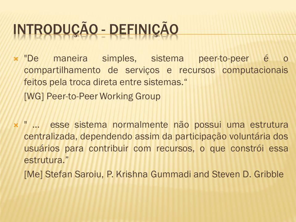 De maneira simples, sistema peer-to-peer é o compartilhamento de serviços e recursos computacionais feitos pela troca direta entre sistemas.