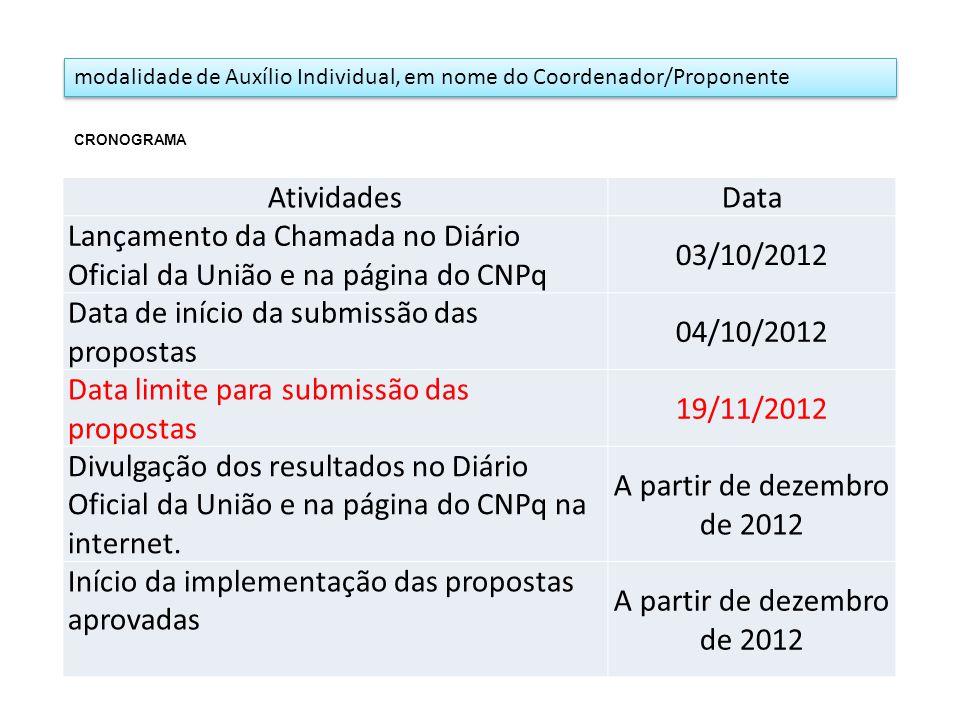 modalidade de Auxílio Individual, em nome do Coordenador/Proponente AtividadesData Lançamento da Chamada no Diário Oficial da União e na página do CNP