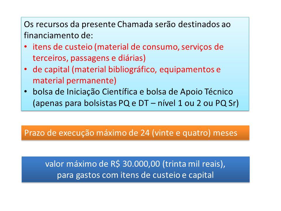 Os recursos da presente Chamada serão destinados ao financiamento de: itens de custeio (material de consumo, serviços de terceiros, passagens e diária