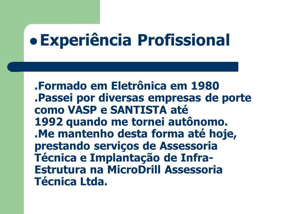 .Formado em Eletrônica em 1980.Passei por diversas empresas de porte como VASP e SANTISTA até 1992 quando me tornei autônomo..Me mantenho desta forma até hoje, prestando serviços de Assessoria Técnica e Implantação de Infra- Estrutura na MicroDrill Assessoria Técnica Ltda.