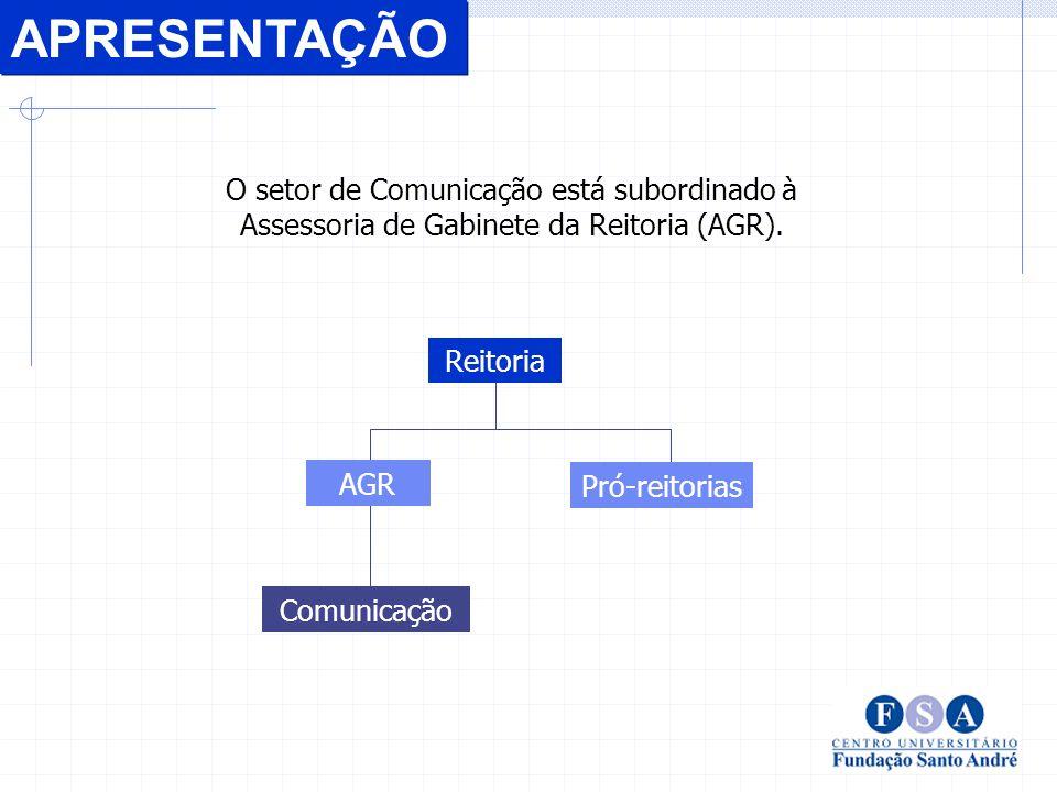 O setor de Comunicação está subordinado à Assessoria de Gabinete da Reitoria (AGR).