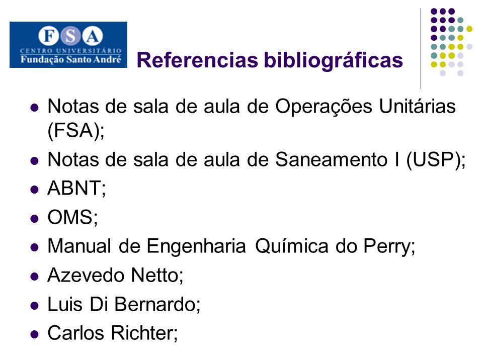 Referencias bibliográficas Notas de sala de aula de Operações Unitárias (FSA); Notas de sala de aula de Saneamento I (USP); ABNT; OMS; Manual de Engen