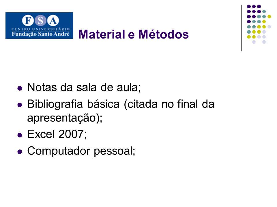 Material e Métodos Notas da sala de aula; Bibliografia básica (citada no final da apresentação); Excel 2007; Computador pessoal;