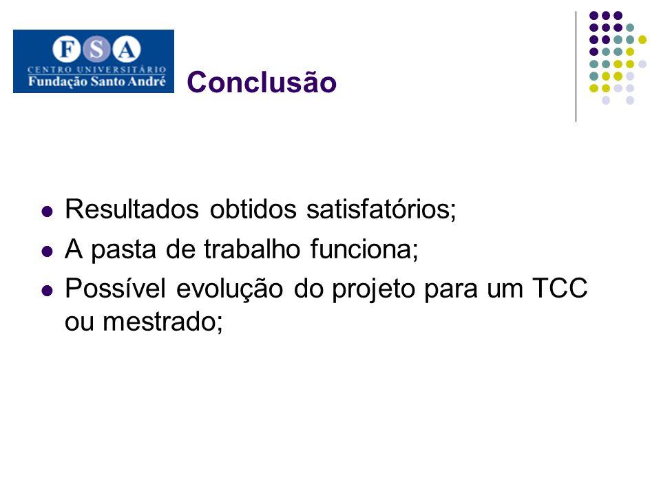 Conclusão Resultados obtidos satisfatórios; A pasta de trabalho funciona; Possível evolução do projeto para um TCC ou mestrado;