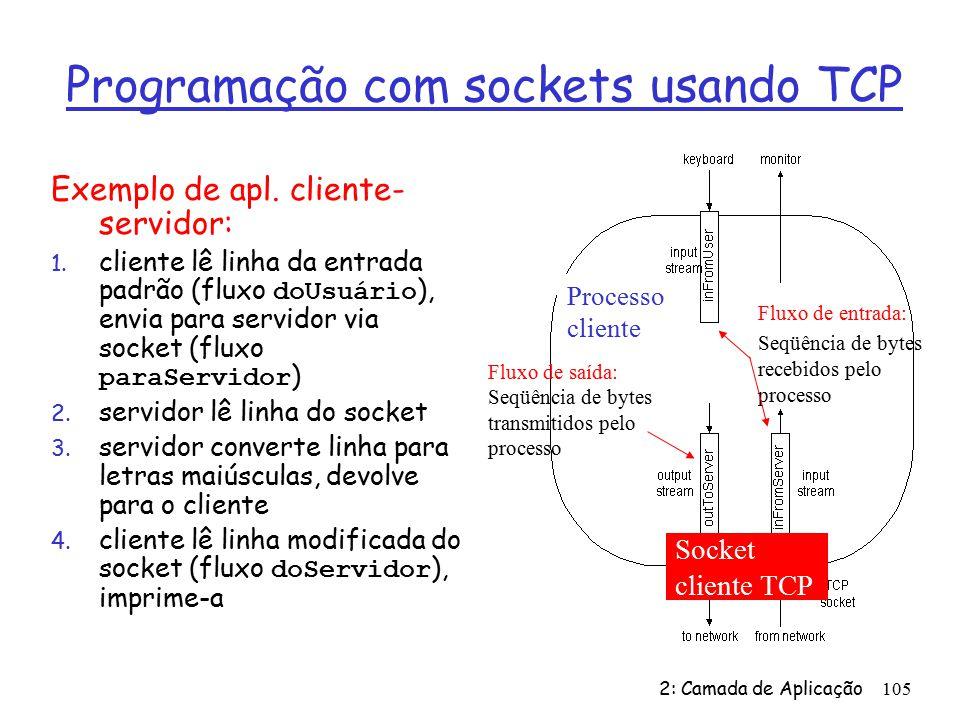 2: Camada de Aplicação105 Programação com sockets usando TCP Exemplo de apl.