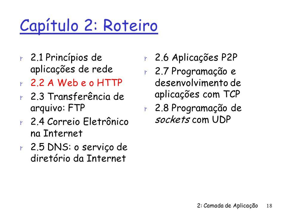 2: Camada de Aplicação18 Capítulo 2: Roteiro r 2.1 Princípios de aplicações de rede r 2.2 A Web e o HTTP r 2.3 Transferência de arquivo: FTP r 2.4 Correio Eletrônico na Internet r 2.5 DNS: o serviço de diretório da Internet r 2.6 Aplicações P2P r 2.7 Programação e desenvolvimento de aplicações com TCP r 2.8 Programação de sockets com UDP