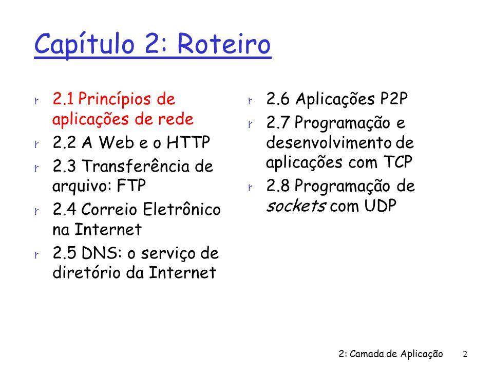 2: Camada de Aplicação63 Capítulo 2: Roteiro r 2.1 Princípios de aplicações de rede r 2.2 A Web e o HTTP r 2.3 Transferência de arquivo: FTP r 2.4 Correio Eletrônico na Internet r 2.5 DNS: o serviço de diretório da Internet r 2.6 Aplicações P2P r 2.7 Programação e desenvolvimento de aplicações com TCP r 2.8 Programação de sockets com UDP