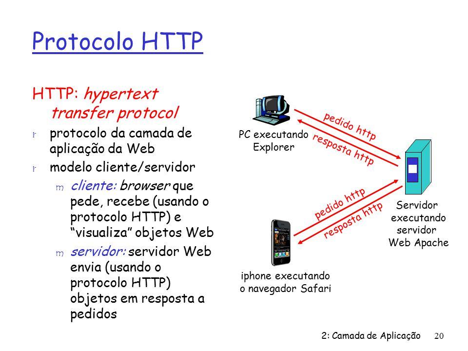 2: Camada de Aplicação20 Protocolo HTTP HTTP: hypertext transfer protocol r protocolo da camada de aplicação da Web r modelo cliente/servidor m cliente: browser que pede, recebe (usando o protocolo HTTP) e visualiza objetos Web m servidor: servidor Web envia (usando o protocolo HTTP) objetos em resposta a pedidos PC executando Explorer Servidor executando servidor Web Apache iphone executando o navegador Safari pedido http resposta http