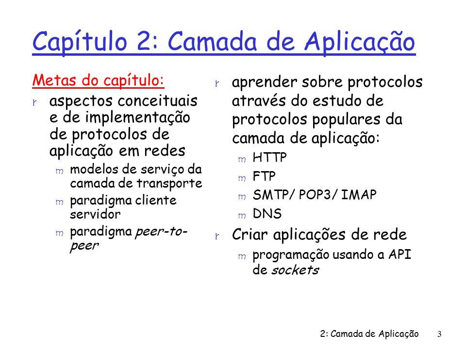2: Camada de Aplicação124 Capítulo 2: Resumo r Arquiteturas de aplicações m cliente-servidor m P2P r Requisitos de serviço das aplicações: m confiabilidade, banda, atraso r Modelos de serviço de transporte da Internet m orientado à conexão, confiável: TCP m não confiável, datagramas: UDP Nosso estudo sobre aplicações de rede está agora completo.