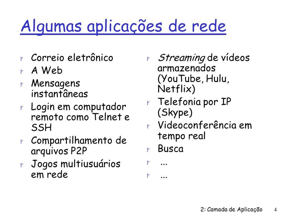 2: Camada de Aplicação4 Algumas aplicações de rede r Correio eletrônico r A Web r Mensagens instantâneas r Login em computador remoto como Telnet e SSH r Compartilhamento de arquivos P2P r Jogos multiusuários em rede r Streaming de vídeos armazenados (YouTube, Hulu, Netflix) r Telefonia por IP (Skype) r Videoconferência em tempo real r Busca r...