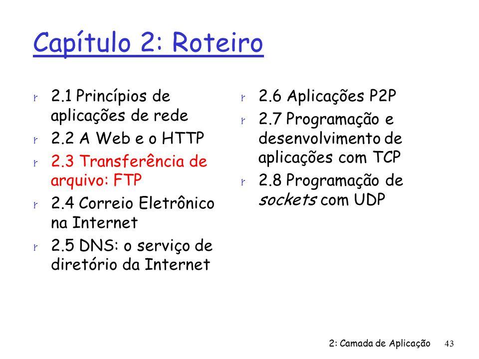 2: Camada de Aplicação43 Capítulo 2: Roteiro r 2.1 Princípios de aplicações de rede r 2.2 A Web e o HTTP r 2.3 Transferência de arquivo: FTP r 2.4 Correio Eletrônico na Internet r 2.5 DNS: o serviço de diretório da Internet r 2.6 Aplicações P2P r 2.7 Programação e desenvolvimento de aplicações com TCP r 2.8 Programação de sockets com UDP