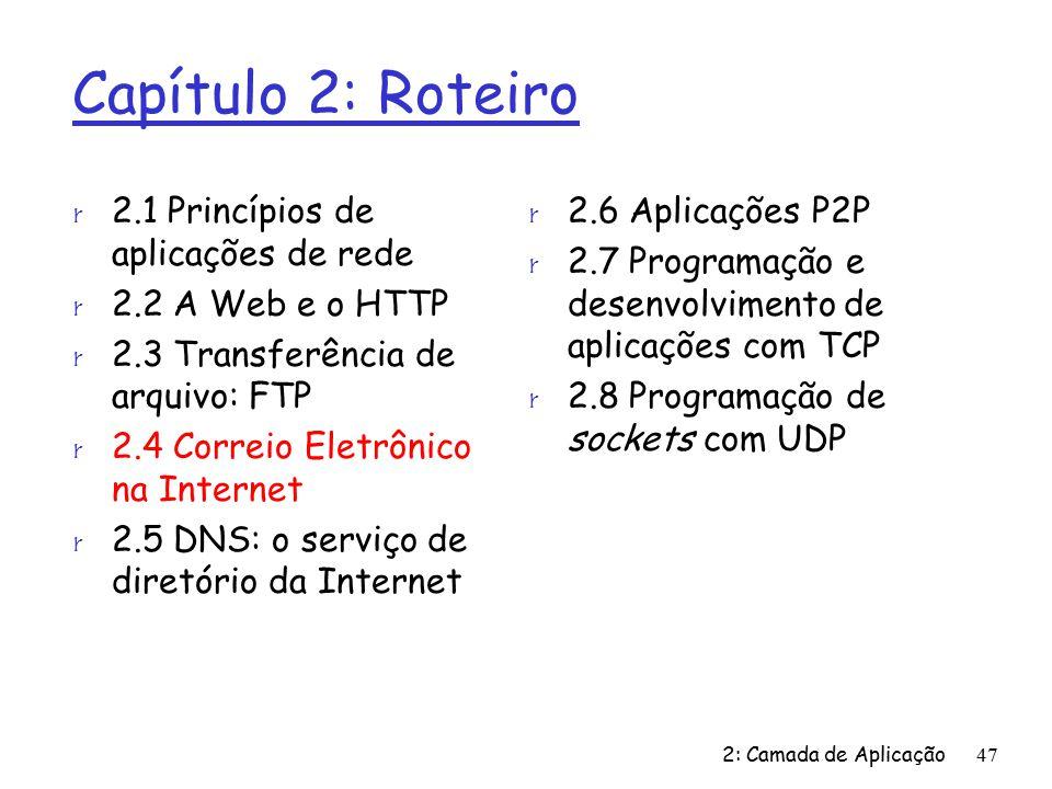 2: Camada de Aplicação47 Capítulo 2: Roteiro r 2.1 Princípios de aplicações de rede r 2.2 A Web e o HTTP r 2.3 Transferência de arquivo: FTP r 2.4 Correio Eletrônico na Internet r 2.5 DNS: o serviço de diretório da Internet r 2.6 Aplicações P2P r 2.7 Programação e desenvolvimento de aplicações com TCP r 2.8 Programação de sockets com UDP