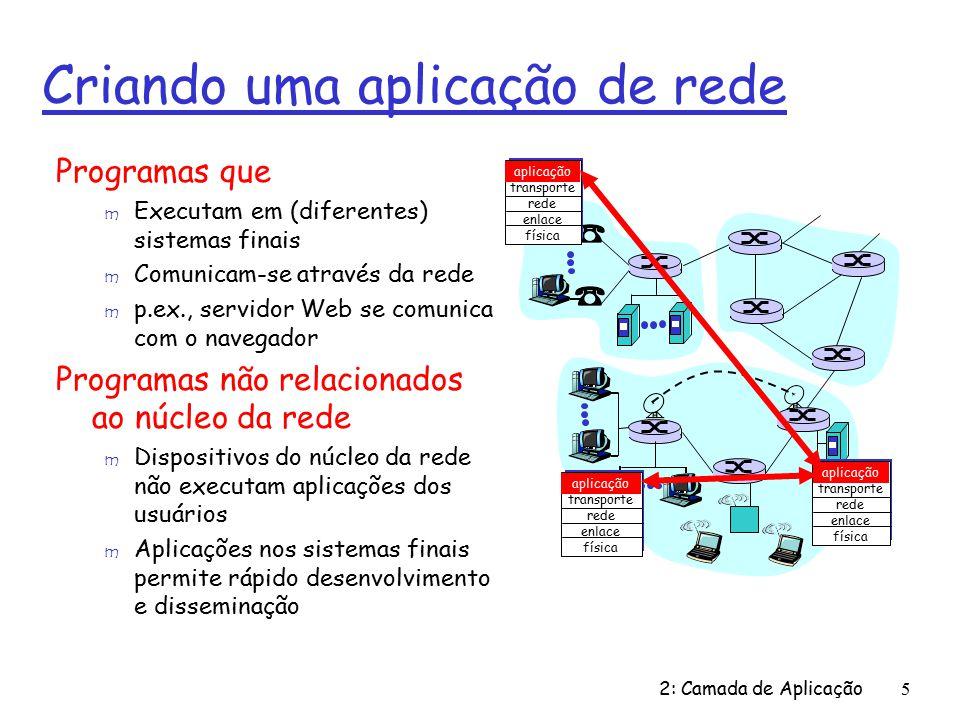 2: Camada de Aplicação16 Apls Internet: seus protocolos e seus protocolos de transporte Aplicação correio eletrônico acesso terminal remoto Web transferência de arquivos streaming multimídia telefonia Internet Protocolo da camada de apl SMTP [RFC 2821] telnet [RFC 854] HTTP [RFC 2616] FTP [RFC 959] HTTP (ex.