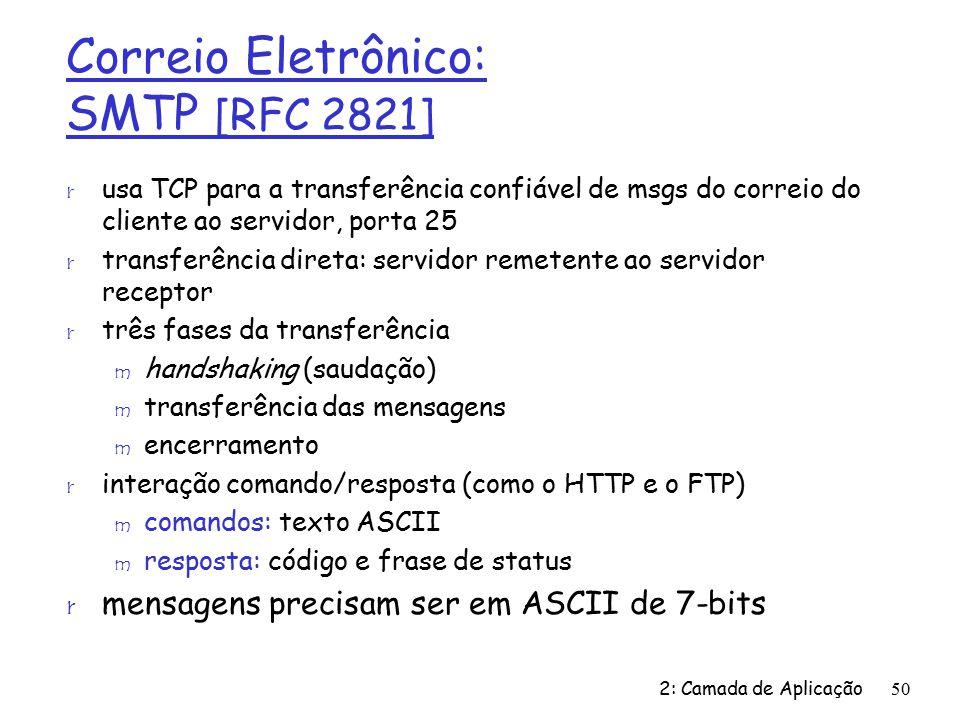 Correio Eletrônico: SMTP [RFC 2821] r usa TCP para a transferência confiável de msgs do correio do cliente ao servidor, porta 25 r transferência direta: servidor remetente ao servidor receptor r três fases da transferência m handshaking (saudação) m transferência das mensagens m encerramento r interação comando/resposta (como o HTTP e o FTP) m comandos: texto ASCII m resposta: código e frase de status r mensagens precisam ser em ASCII de 7-bits 2: Camada de Aplicação50
